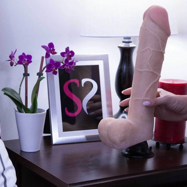 Real Feel Deluxe No.12 Realistic Vibrating 12 Inch Suction Dildo Beige